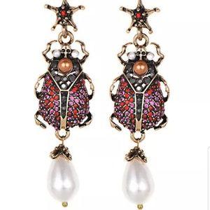 New Crystal scarab earrings